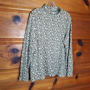 Denim & Co Cheetah Mock Neck Turtleneck Size XL